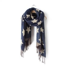 DELOS European Style Double Cashmere Long Scarf Tassel Shawl Five-pointed Star Brand Design Women Winter Scarves Poncho Cape HOT