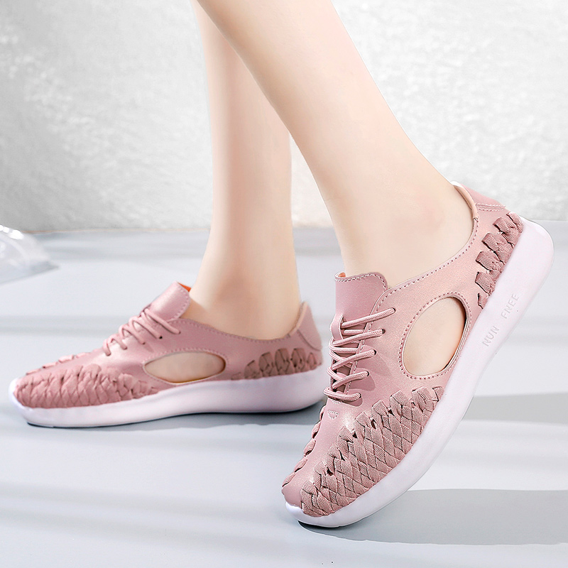 Keloch 2018 Summer Fashion Women Shoes Hollow Weave Breathable Ladies Shoes Pink Soft Flat Heel Shoes Women Zapatos Mujer