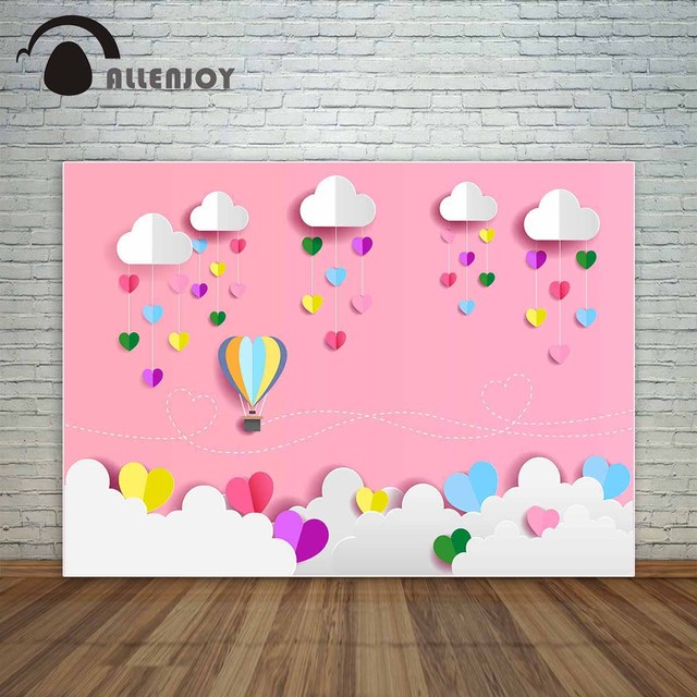 Allenjoy Pink background with Colorful love hearts and hot air balloon for kids for Valentine's Day photocall for a photo shoot