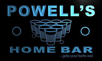 x1085-tm Powells Home Bar Beer Pong Custom Personalized Name Neon Sign Wholesale Dropshipping On/Off Switch 7 Colors DHL