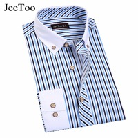 JeeToo 2017 New Arrival Striped Shirt Men Long Sleeve Slim Fit Mens Casual Shirts Cotton Mens