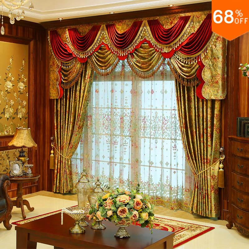 luxury curtain for window curtain Splendid Wow tenda finestra valance Curtains For Living Room rideau Hotel Drapery with valance