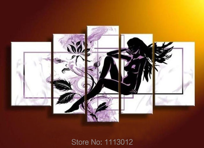 High Quality Modern Flower Nude Black Female Girl Women Oil Painting On Canvas Abstract Home Wall Picture For Living Room Sale