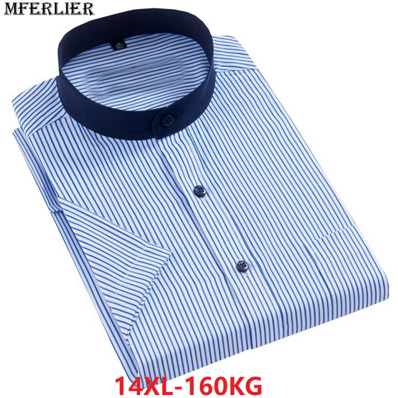 Summer Larger Plus Big Size 7XL 8XL Short Sleeve Shirts 9XL 10XL Men 12XL 14XL Dress Shirts Stand Collar Blue Stripe 11XL 13XL