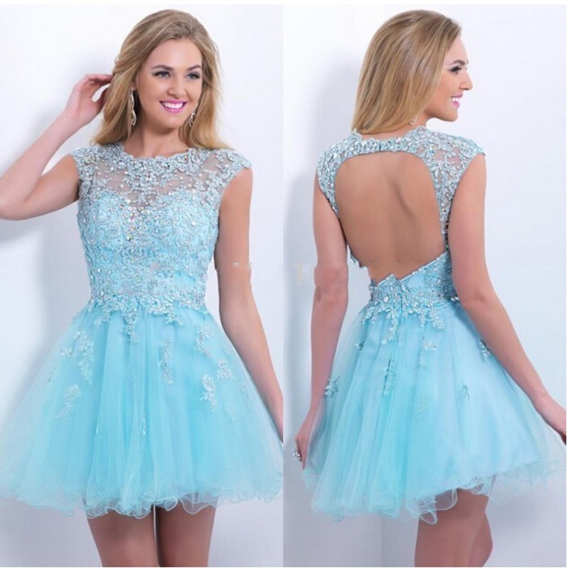 c4f2f203d3 Short Homecoming Dresses Cute 8 Grade Graduation Dresses For Girls Light  Blue Tulle Prom Party Dress Open Back Homecoming 2016