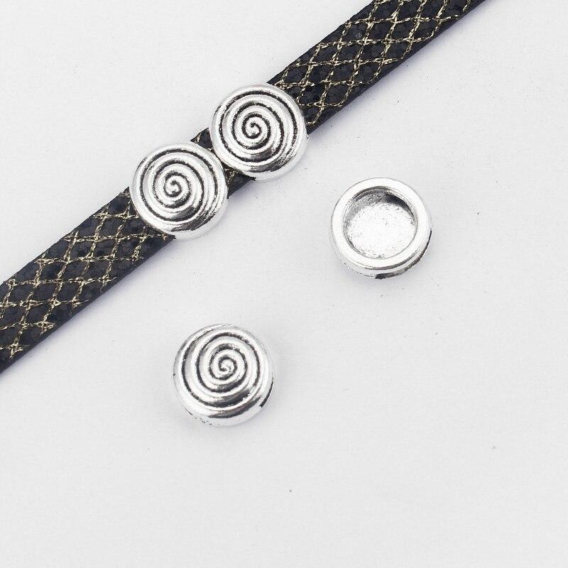b2bcd2caed70 10 unids plata antigua forma redonda tallado vórtice encanto espaciadores  del deslizador para 10 2mm accesorios de cable de cuero plano