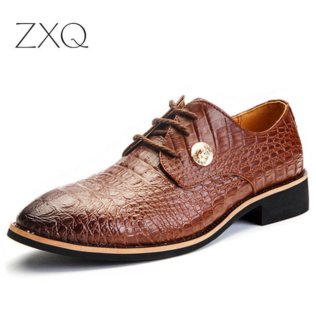 2016 New Style Crocodile Pattern Men Oxford Shoes Flat Dress Shoes Lace Up Cowhide Leather Alligator Shoes For Men