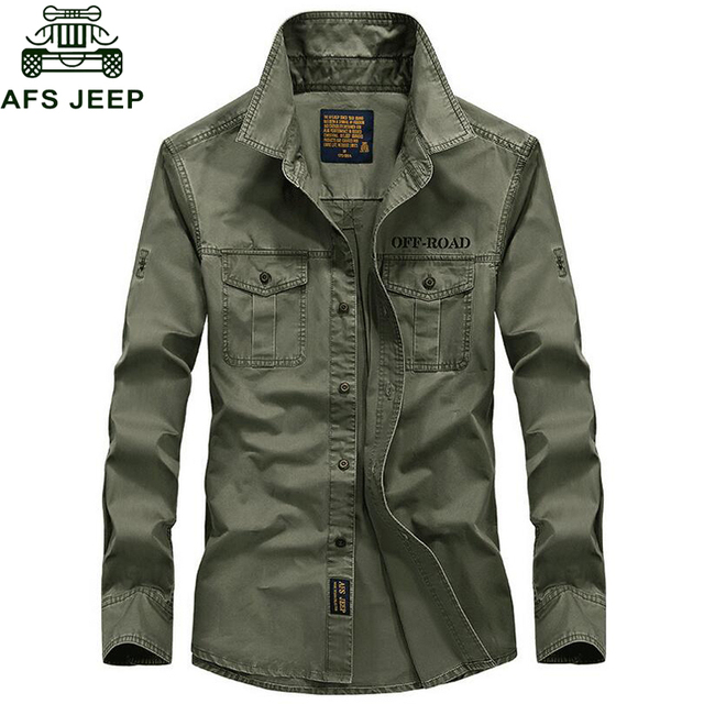 Afs Jeep Shirt Men Brand Clothing 2018 100% Cotton Long Sleeves Army Military Men Shirt Casual Camisetas hombre Plus Size S-4XL