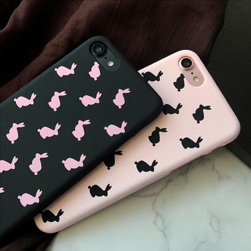 cartoon rabbit couples cases for iphone 7 cute animal