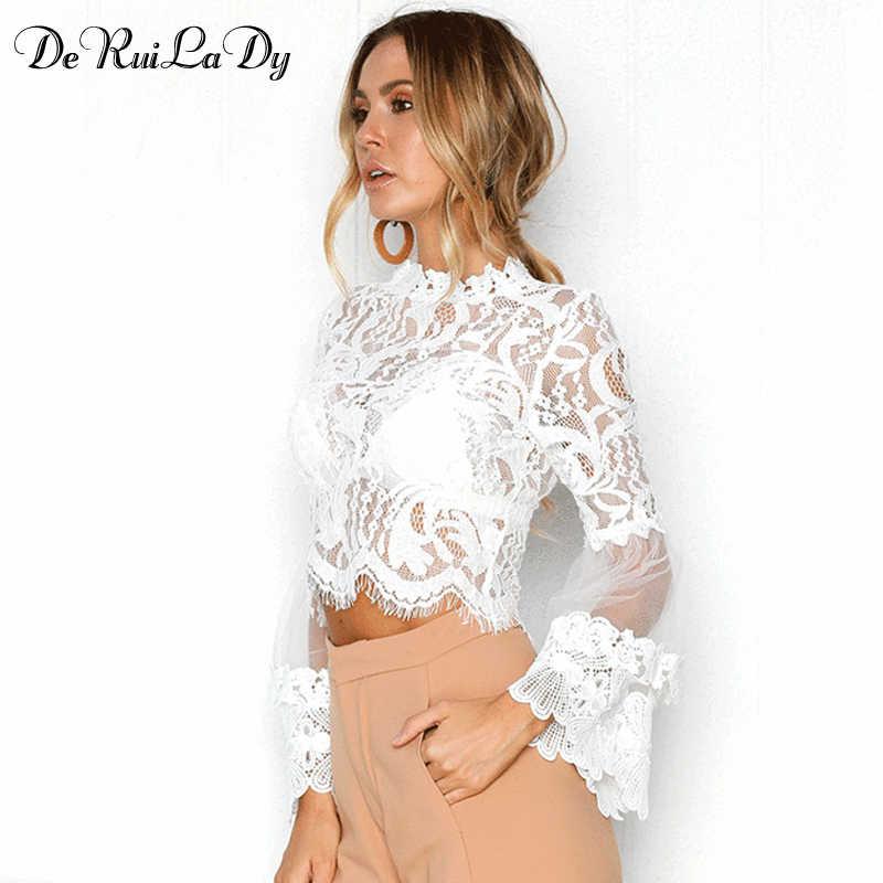 DeRuiLaDy Seksi Hollow Out Beyaz Dantel Bluz Gömlek Kadın Zarif Parlama Kollu Yaz Bluzlar Kadın Casual Uzun Kollu Üstleri Blusa