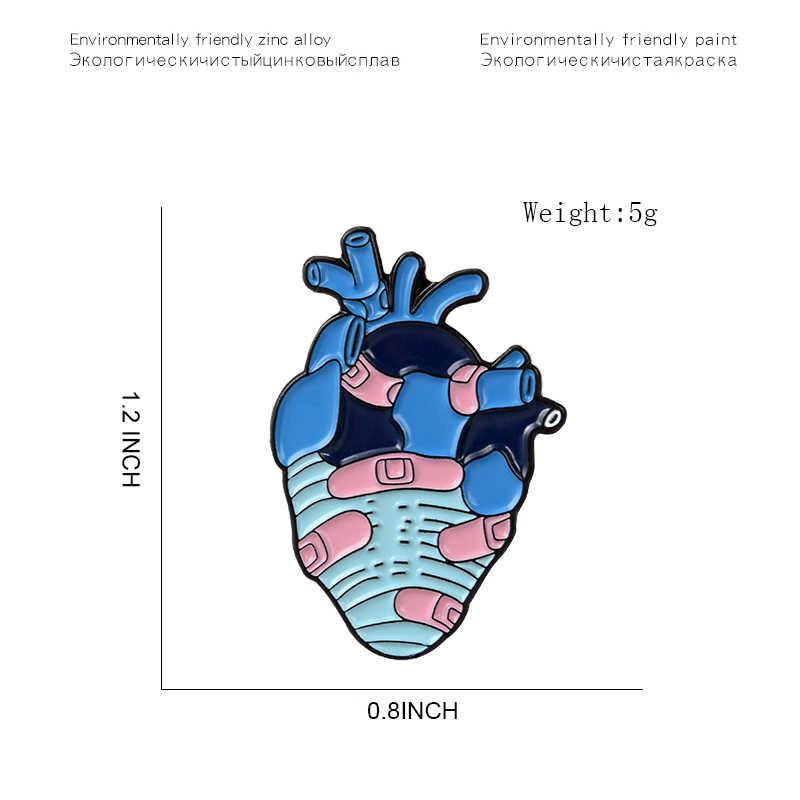 19 スタイル解剖ハートエナメルピン医療解剖ブローチハート神経ピンため医師と看護師ラペルピンバッグバッジギフト