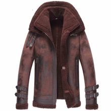 Men's LeatherJacket Double-Face Fur Coat Sheepskin Leather Jacket Fashion Slim Short Casual Jacket Double-layer Collar GSJ147