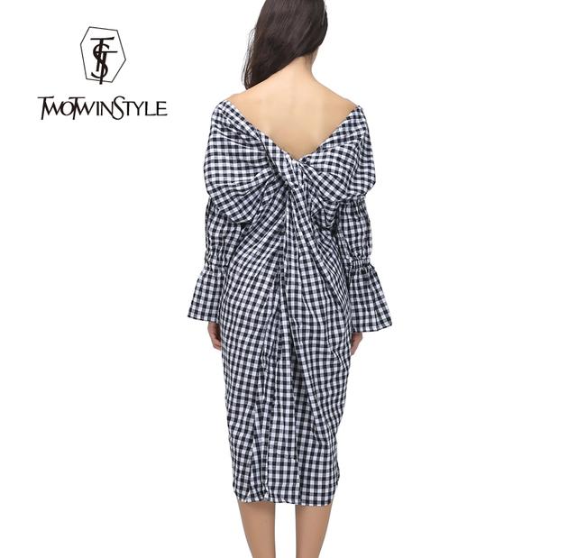 [Twotwinstyle] 2017 verão v neck voltar knot longo sex dress mulheres roupas xadrez nova moda