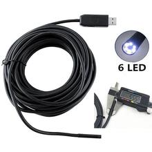 10m 5mm 6 LED CMOS sensor Snake Tube Camera 10M 5MM USB Endoscope Waterproof 6LED Borescope Inspection Tube Video Camera