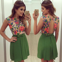 New Design Europe Explosion Models Summer Fashion Flowers Print Back Hollow Out Perspective Sexy Sleeveless Slim
