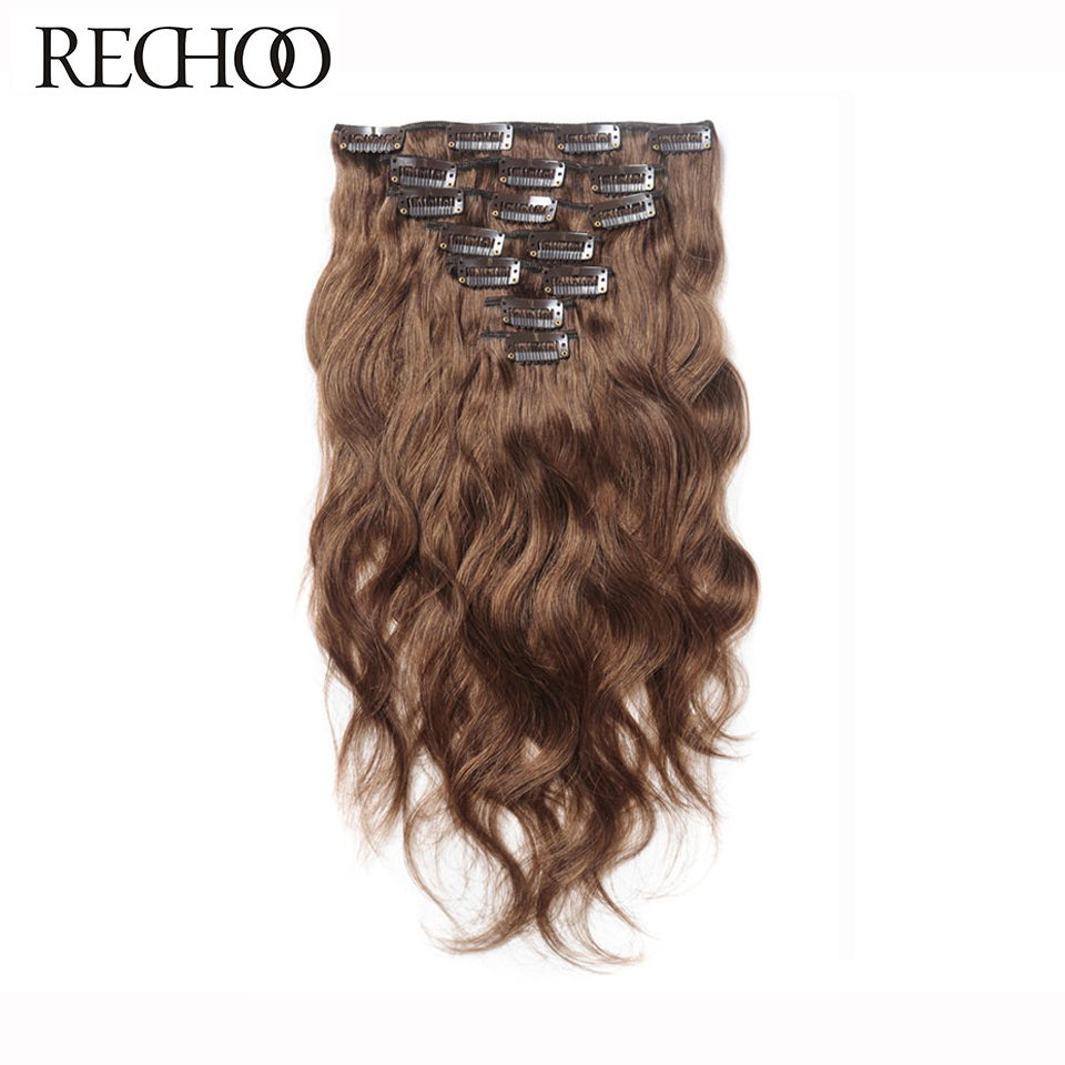 Rechoo Body Wave 100% Human Hair Clip I Extensions Full Head Set Peruvian Machine Made Remy Hair Clips Brown 16 18 22 24 Inch