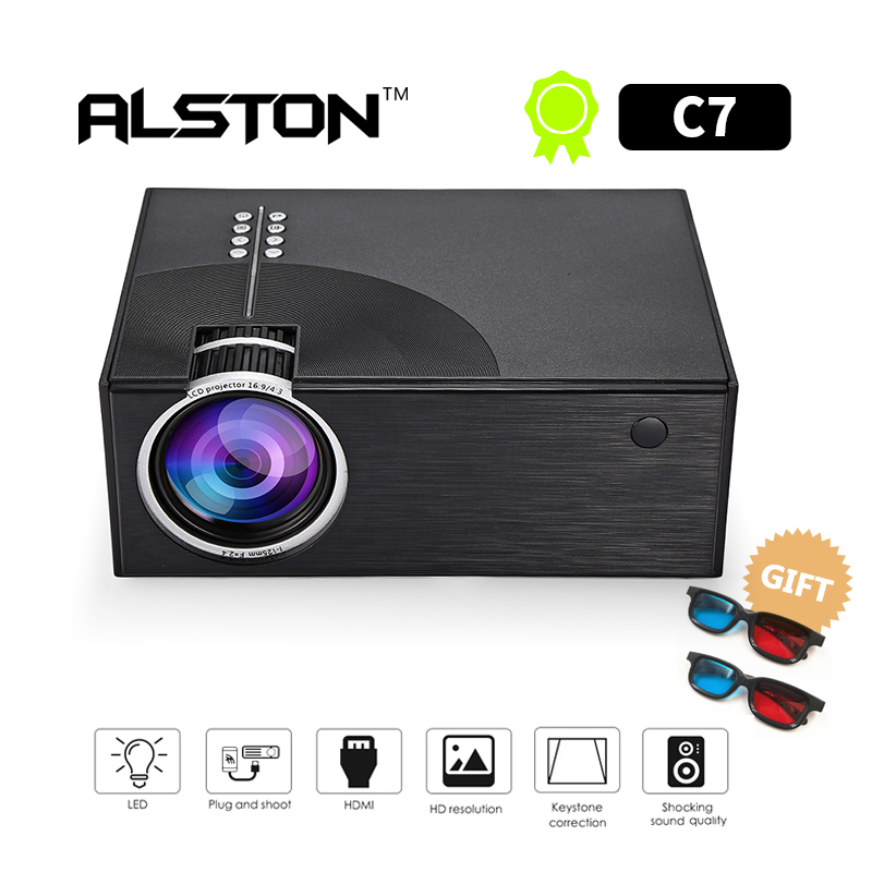 ALSTON C7 1800 Lumens LED Video Projector Portable LCD Projector For Home Cinema AV USB HDMI VGA 3D LED Beamer(China)