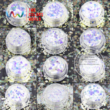 TCT-006 Rainbow White with Bule Colors Ten kinds of shape Four sizes Glitter for nail art nail gel,makeup and DIY decoration