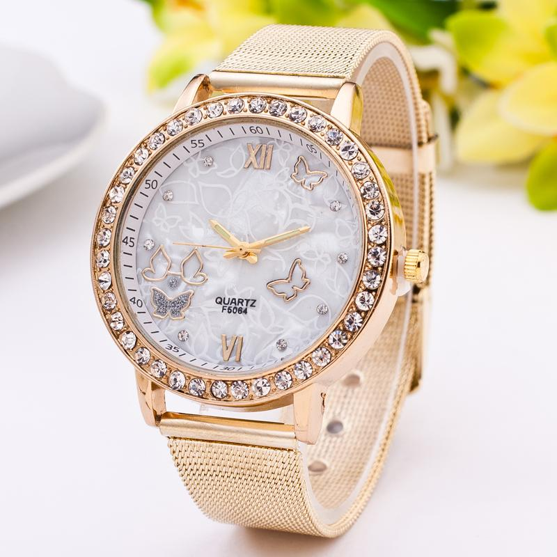 Exclusivo moda elegante malla Acero inoxidable mariposa moda de cuarzo moda  casual reloj mujeres reloj de acero reloj c2f2b700664