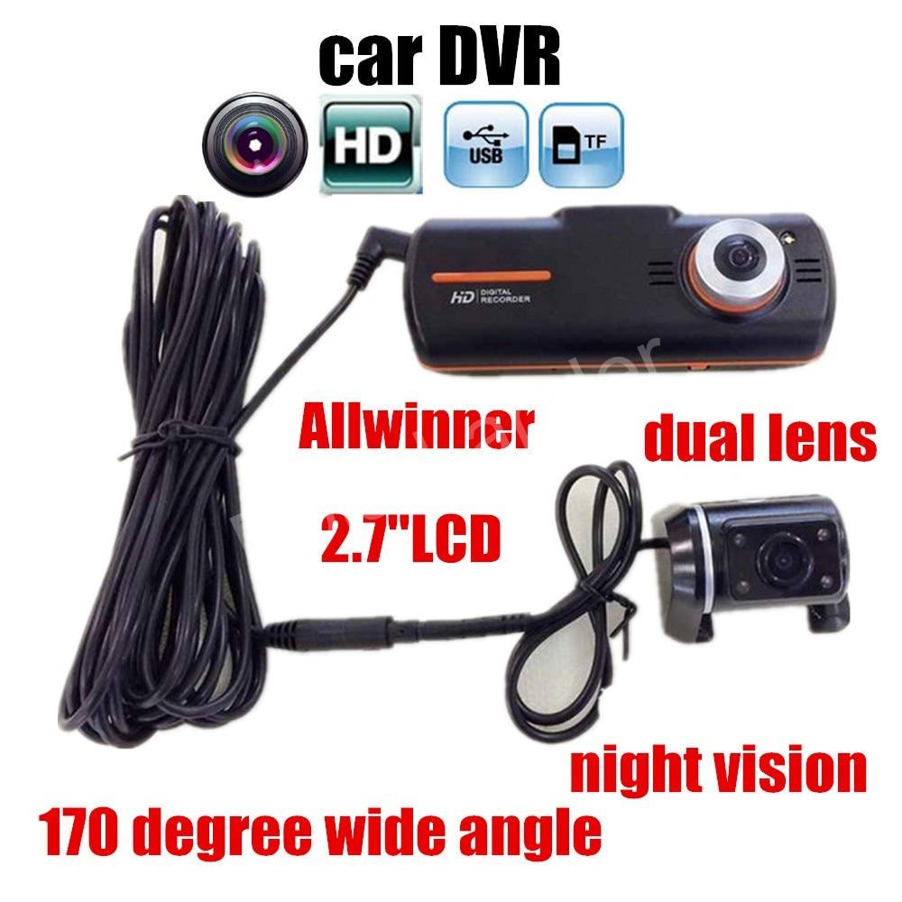 Original A1 car DVR camera dual camera Full HD 2 7 inch LCD Rear Camera Allwinner