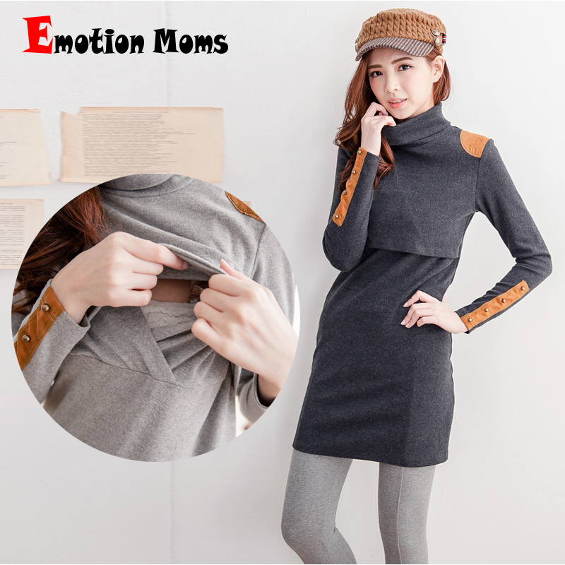 ФОТО Emotion Moms Turtleneck Thermal Maternity clothes Breastfeeding maternity dresses for Pregnant Women Tops nursing pregnant dress