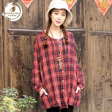 Spring 2015 new products listed, the brand quality and original design 100% cotton linen women's plaid shirt of loose big yards