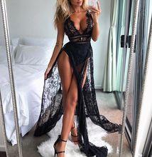 2018 Ladies Beach Long Dress Black Sheer Floral Lace Maxi Dress High Waist Sexy High Split Party Dress buttoned split back sheer floral lace dress
