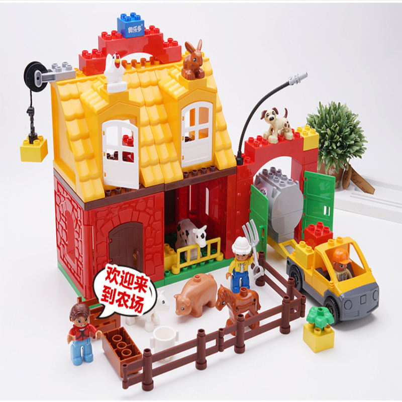 Big Size large Bricks Happy Farm Happy Zoo Animals Building Blocks 2 Sets Compatible LegoIN Duplo figures Toys For Children gift qwz 39 65pcs farm animals paradise model car large particles building blocks large size diy bricks toys compatible with duplo