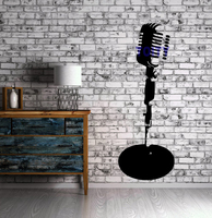 Microphone Wall Sticker Microphone Stand Music Stage Art Vinyl Wall Decal Jazz Music Wall Decor Mural