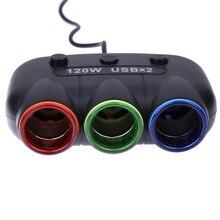 Dc12-24v 120 Вт 3way авто розетки автомобильного прикуривателя splitter адаптер питания dual usb зарядное устройство с переключателем для iphone/samsung/mp3