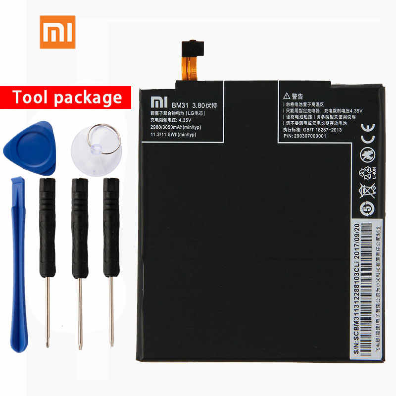 Original Xiaomi BM31 Mi3 Phone battery For Xiaomi Mi3 Mi 3 3050mAh Mobile Phone Replacement Lithium Polymer in Mobile Phone Batteries from Cellphones Telecommunications
