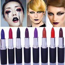 2016 Matte Makeup Vampire Dark Red Lipstick Cosmetic Punk Purple Waterproof Lips Stick lips Tools