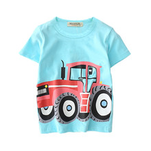 V-TREE Summer Baby Boys T Shirt Cartoon Car Print Cotton Tops Tees T Shirt For Boys Kids Children Outwear Clothes Tops 2-8 Year