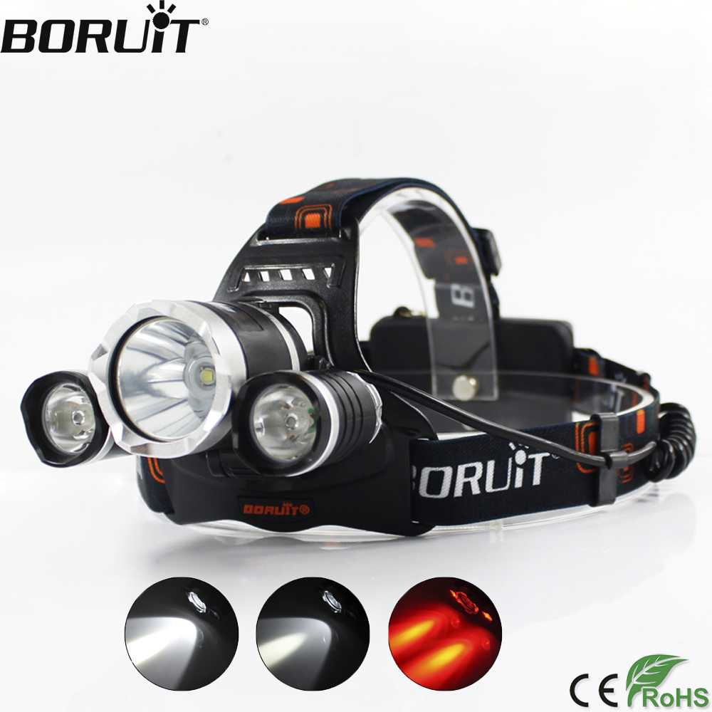 все цены на BORUiT Red Flashlight 3000LM XML T6 XPE LED Headlamp 3-Mode Headlight Hunting Torch Camping Frontal Lantern by 18650 Battery онлайн