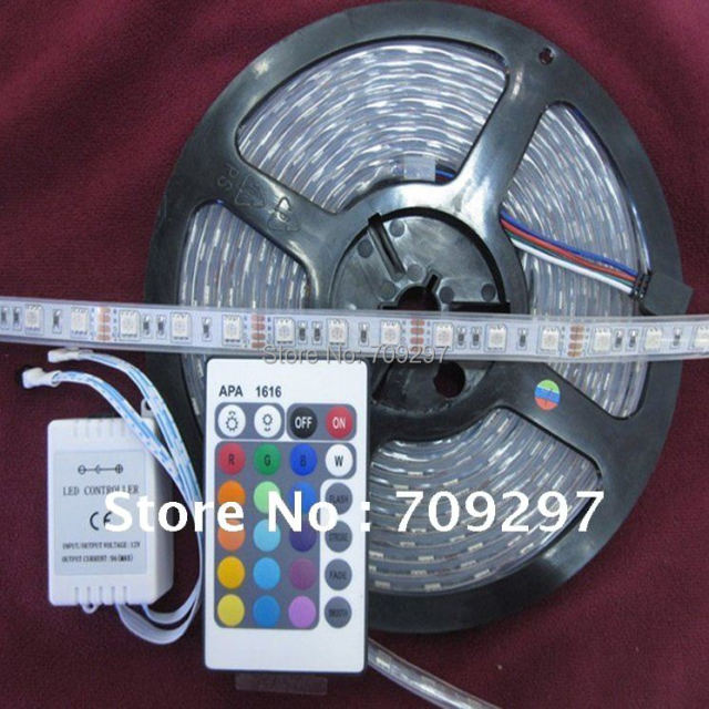 5m 300LED IP67 Tube waterproof RGB 12V 5050 LED Strip light/Outdoor lights + 24 keys IR Remote Controller