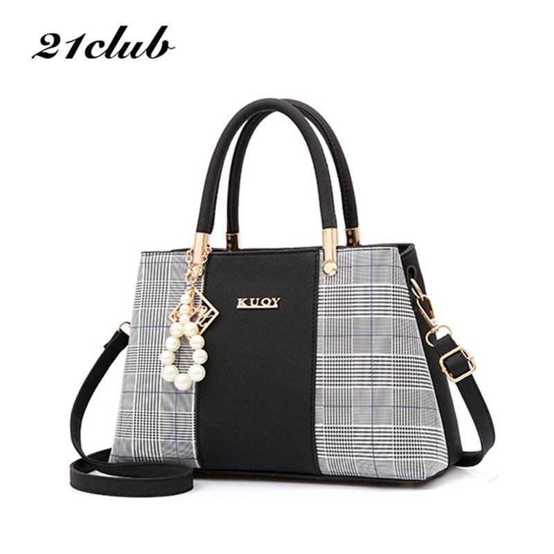 21club Brand PU Leather Large Capacity Woman Handbag Grid Shoulder Bag Fashion Casual Luxury Designer Crossbody Women Handbags