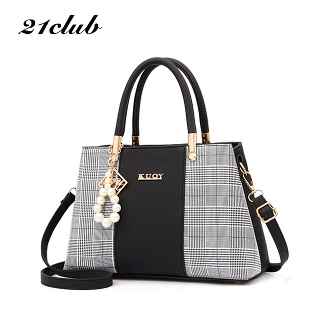 21club Brand PU Leather Large Capacity Woman Handbag Grid Shoulder Bag Fashion Casual Luxury Designer Crossbody Women Handbags