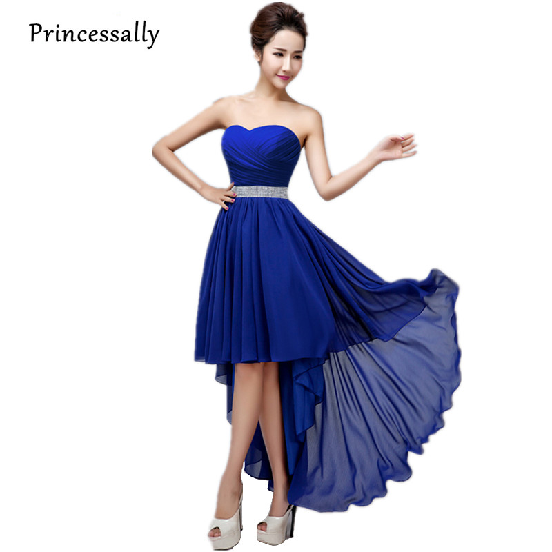 05509afa0bb High Low Bridesmaid Dress Royal Blue Chiffon Pleat Crystal Waist  Swallowtail Sexy Homecoming Prom Gown Vestido