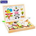 DIY Multifunctional Wooden Toys Educational Magnetic Puzzle Farm Jungle Animal Children Jigsaw Board Baby Drawing Easel Board