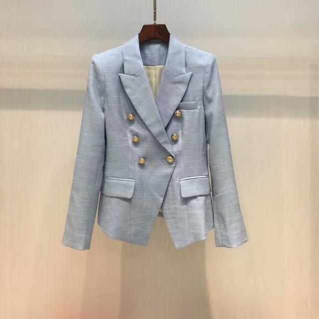 US $119.0 |Moda donna blu di lusso biancheria giacca doppio petto d'oro con bottoni collare dentellato tasche con patta a maniche lunghe polsini con