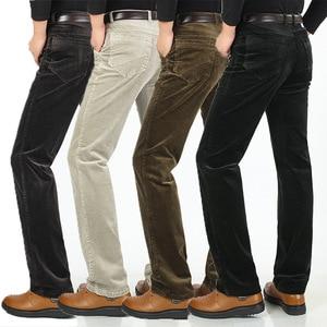 Image 4 - Autumn Winter Warm Men Stretch Corduroy Pants Loose Straight Slacks Long Business Casual Pants High Thicken Corduroy Trousers