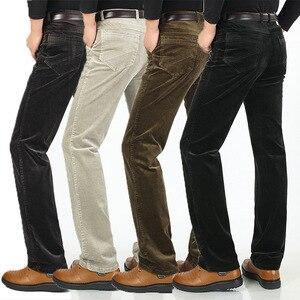 Image 4 - Pantalones de pana con estiramiento de pana para hombre, pantalones largos rectos, de negocios, informales, gruesos, de pana, para Otoño e Invierno
