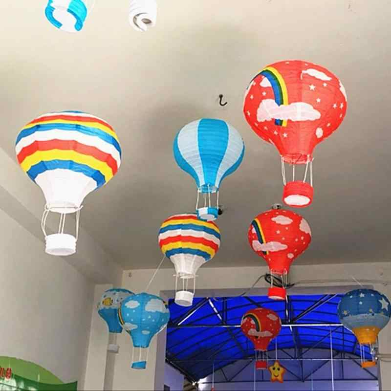 Hanging Paper Lanterns Hot Air Balloon 12'' Wedding Birthday Party Decoration Mall Bar Ceiling Decor Ball Paper Lanterns
