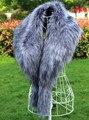 Большой фокс меховым воротником мех енота украшения пальто воротником из искусственного меха шаль шарф мыс женщины зимой теплый шарф