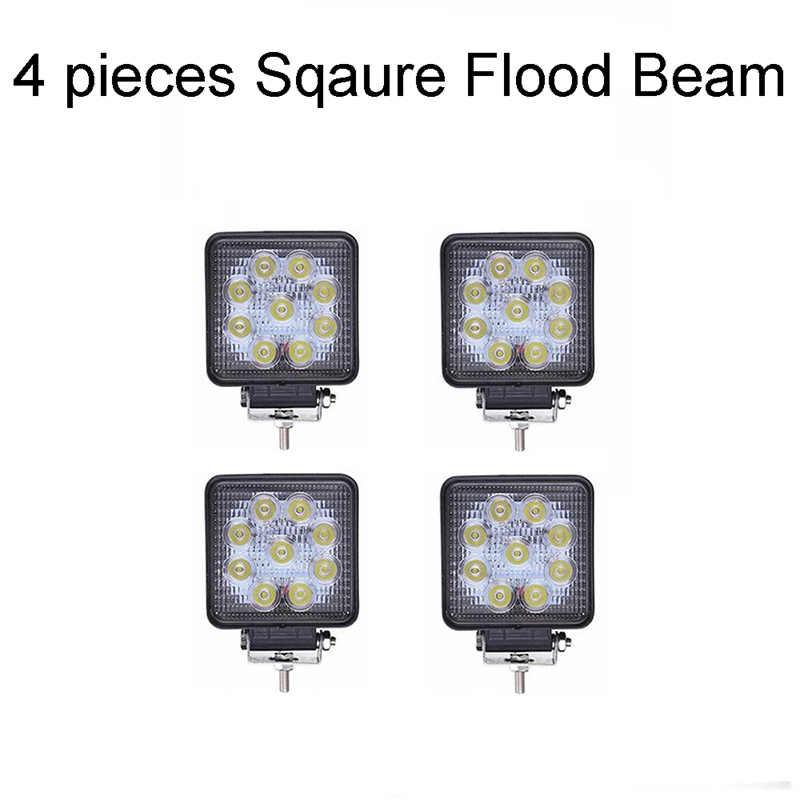 "ECAHAYAKU 4 قطعة 4 ""مربع 27W LED ضوء العمل بقعة/كشاف ضوء IP67 للماء للصدمات ل Offroads المركبات اتفس سيارة LED مصباح"