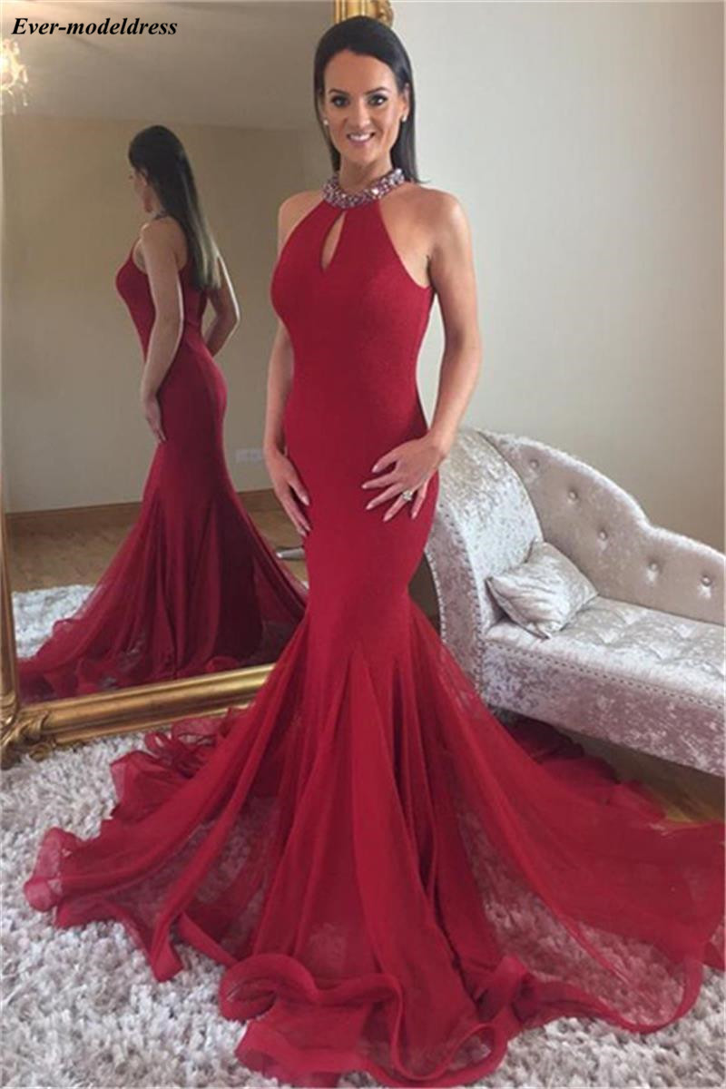 Vintage Arabic Red Mermaid Evening Dresses Halter Sequined Beading Formal Party Gowns Sweep Train 2019 robe de soiree longue