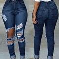 Сексуальная Полный Длинный Синий Ripped Тонкий Уничтожено Проблемные Тощий Брюки Брюки Мода Одежда Женщины Джинсы L450-2