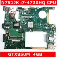N751JK i7 4710HQ CPU GTX850 4GB Mainboard 60NB06K0 MB3100 200 For ASUS N751JK N751JX N751J N751 laptop Motherboard 100% Tested