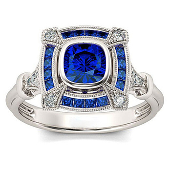 Silver Blue Crystal Sapphire Ring