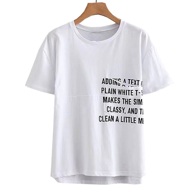 702dcccbc7 Stylish Letters Print Slogan T Shirt Pocket O Neck Short Sleeve Basic White  Tee Lady Irregular Loose Tops Camisetas